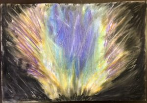 Client chalk pastel drawing during Art Therapy, Orchard Recovery Center