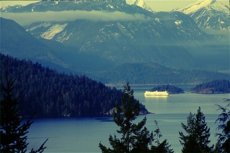Langdale ferry passing Bowen Island in Howe Sound.