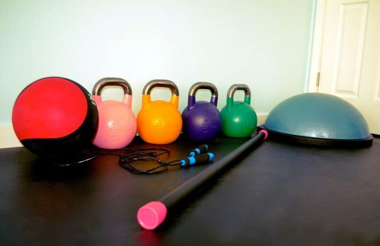 Orchard Recovery Center Gym contains a variety of weights for use.