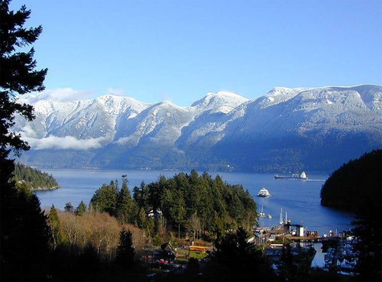 Howe Sound and Snug Cove viewed from Cates Hill Bowen Island, picture copyright Larry Adams