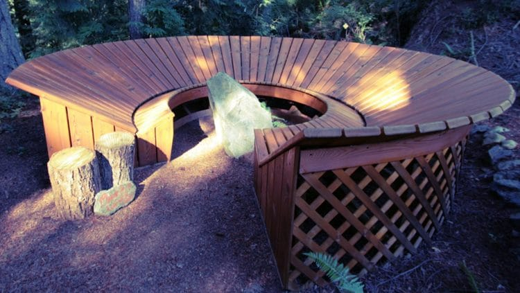 Serenity Bench provides a peaceful place for clients to meditate at Orchard Recovery Center Administration