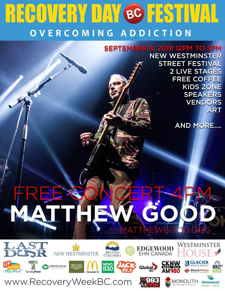 Poster showing Matthew Good as well as the sponsors for the 2018 Recovery Day BC event