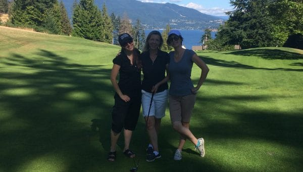 Cassandra, Lorinda, Barb at the Alumni Golf Tournament