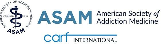 American Society of Addiction Medicine (ASAM) and Commission on Accreditation of Rehabilitation Facilities (CARF) Logo