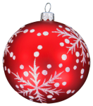 Red Christmas ornament with snowflakes