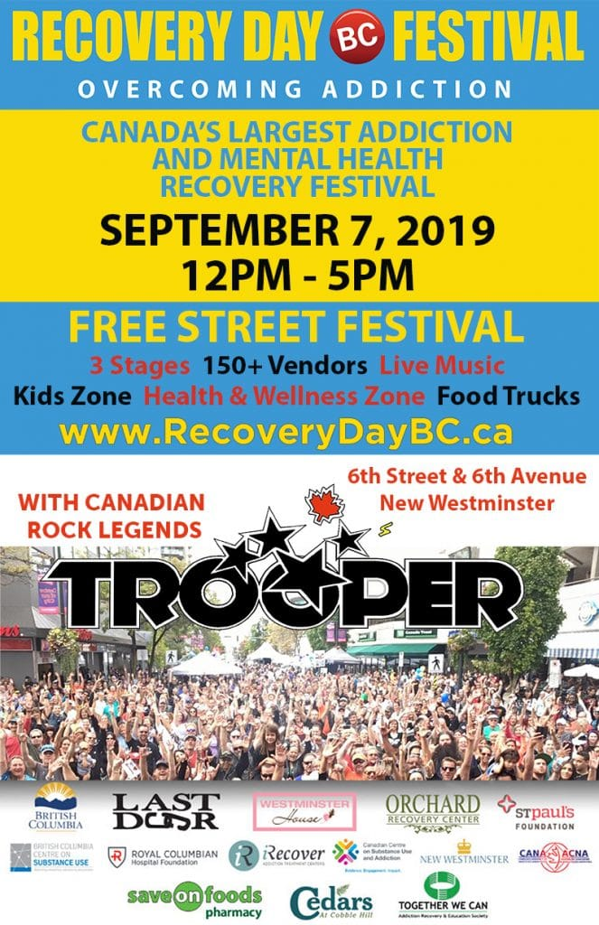 Recovery Day 2019 is September 7th 2019 from 12pm - 5pm.