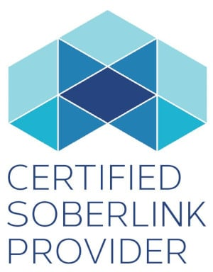 "Three overlapping hexagons with the words ""CERTIFIED SOBERLINK PROVIDER"" below."