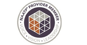 Circle with the words NAATP Provider Membership - Voice - Vision - Leadership between an inner circle which has a logo of 3 dimensional cubes in the middle