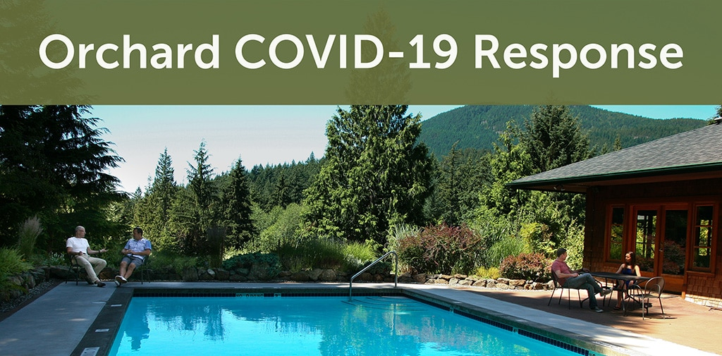 Orchard clients sitting outside by the swimming pool; text reads Orchard COVID-19 Response.