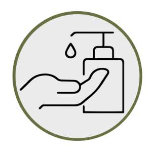 Icon showing hand-sanitizing.