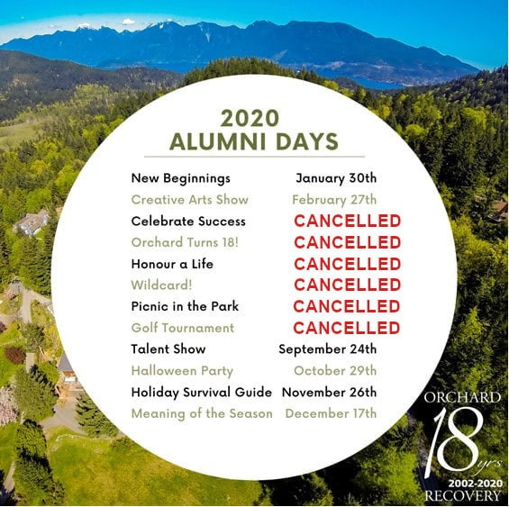 Wooded hillside with mountains in the background. White circle with list of 2020 alumni days. In the bottom right Orchard turns 18 yrs.
