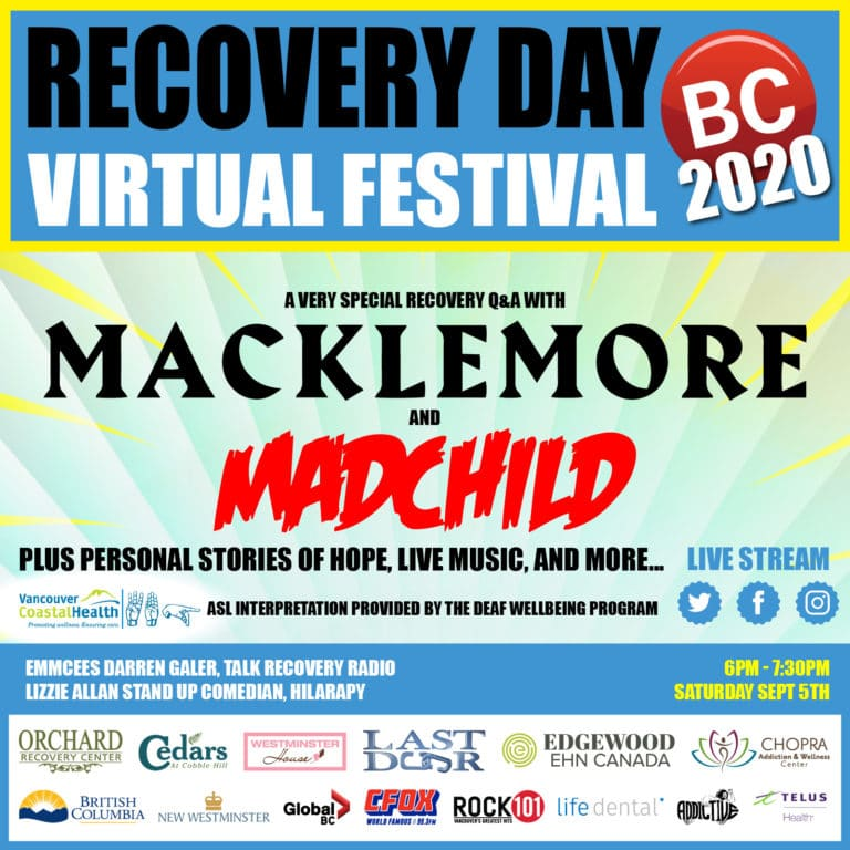 Poster for 2020 Recovery Day BC Virtual Festival with Macklemore and Madchild