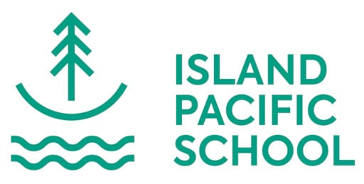 Image of a tree above a semi circle and 2 wavy lines - logo for Island Pacific School